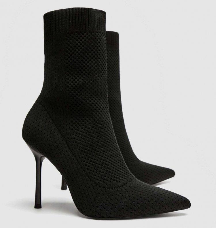 ZARA Absatzstiefelette Sockboots schwarz