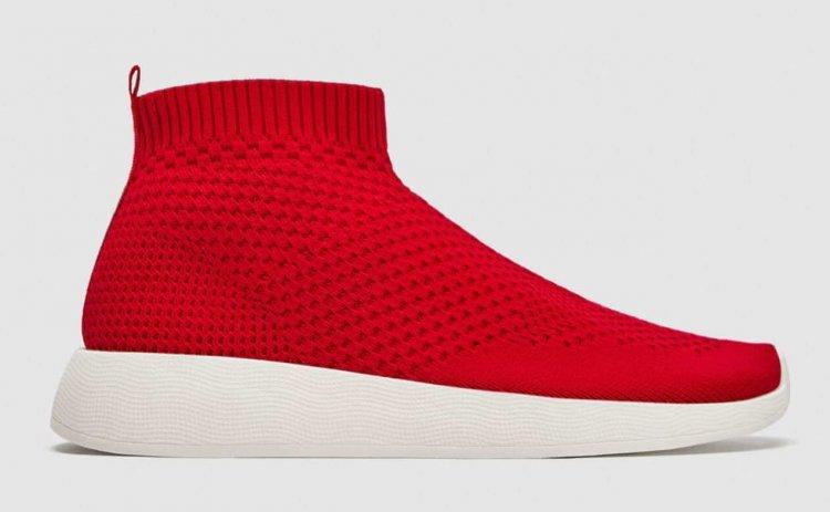 ZARA Stoff Sneaker in rot